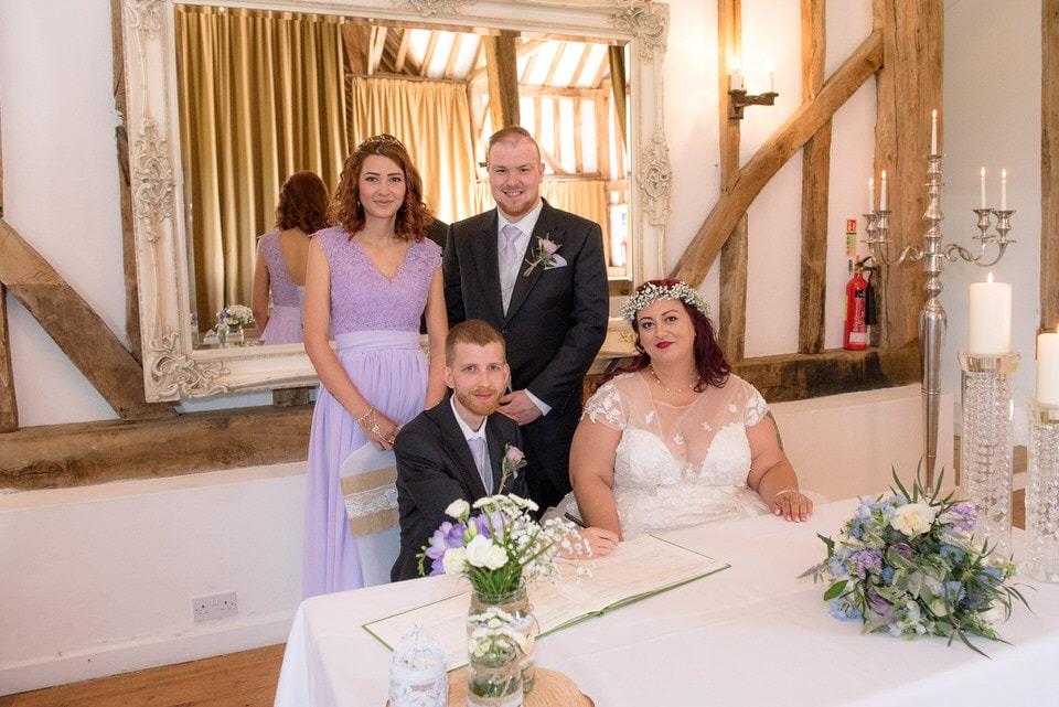 The wedding register signing