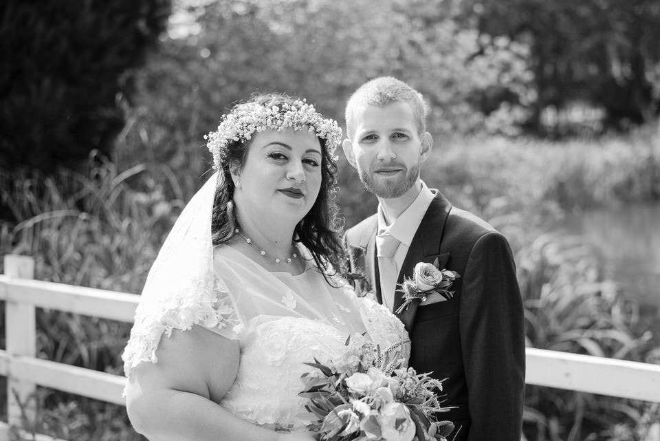 Wedding portraits of the bride and groom at Bury Lodge