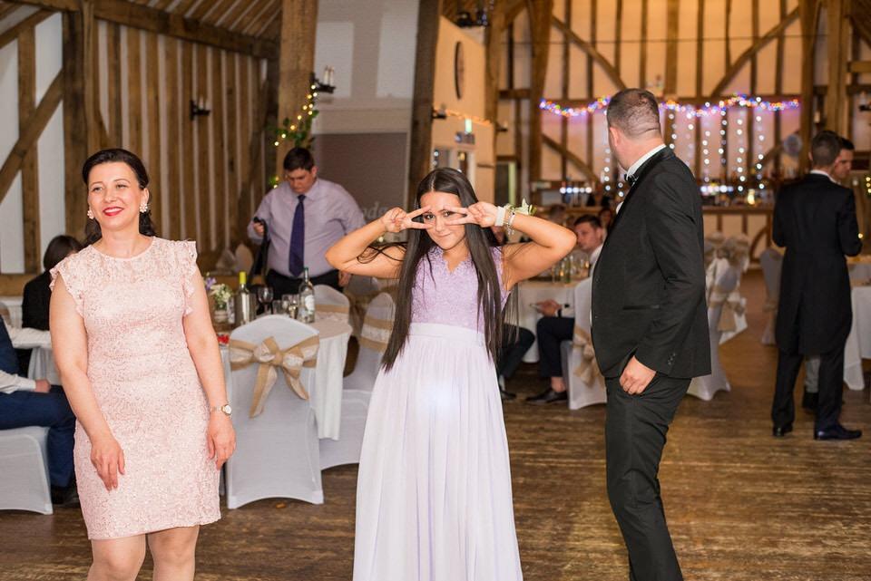A bridesmaid looking at the camera