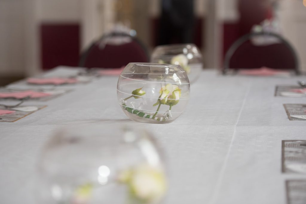 A fish bowl decoration for the wedding breakfast