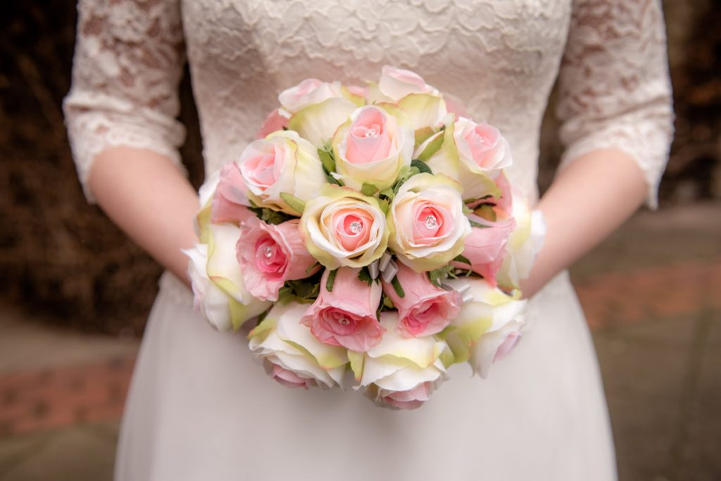 A close up shot of the bridal flowers