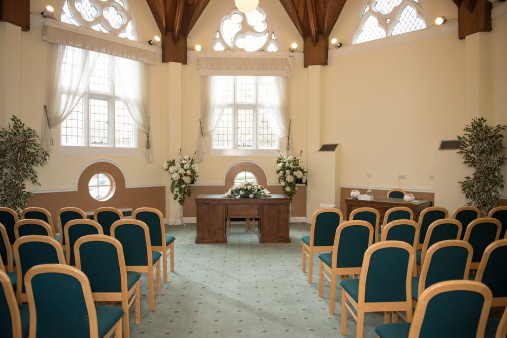 The ceremony room at the Cheshunt Registry Office.