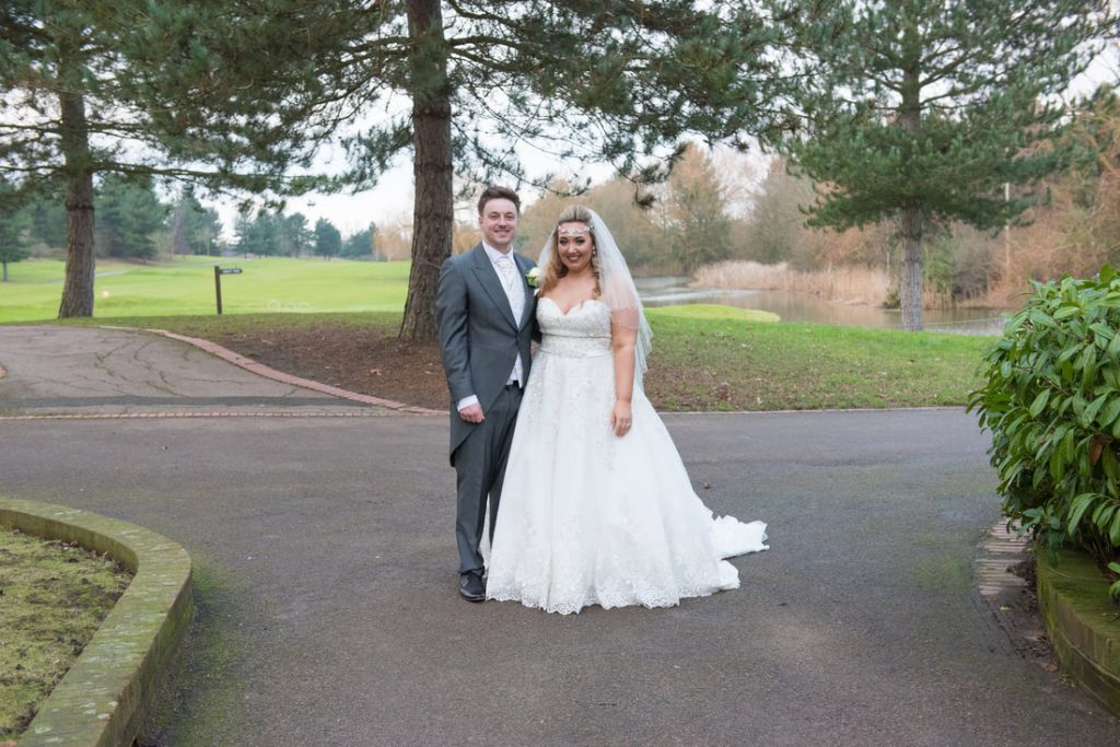 A wedding portrait shot of the bride and groom
