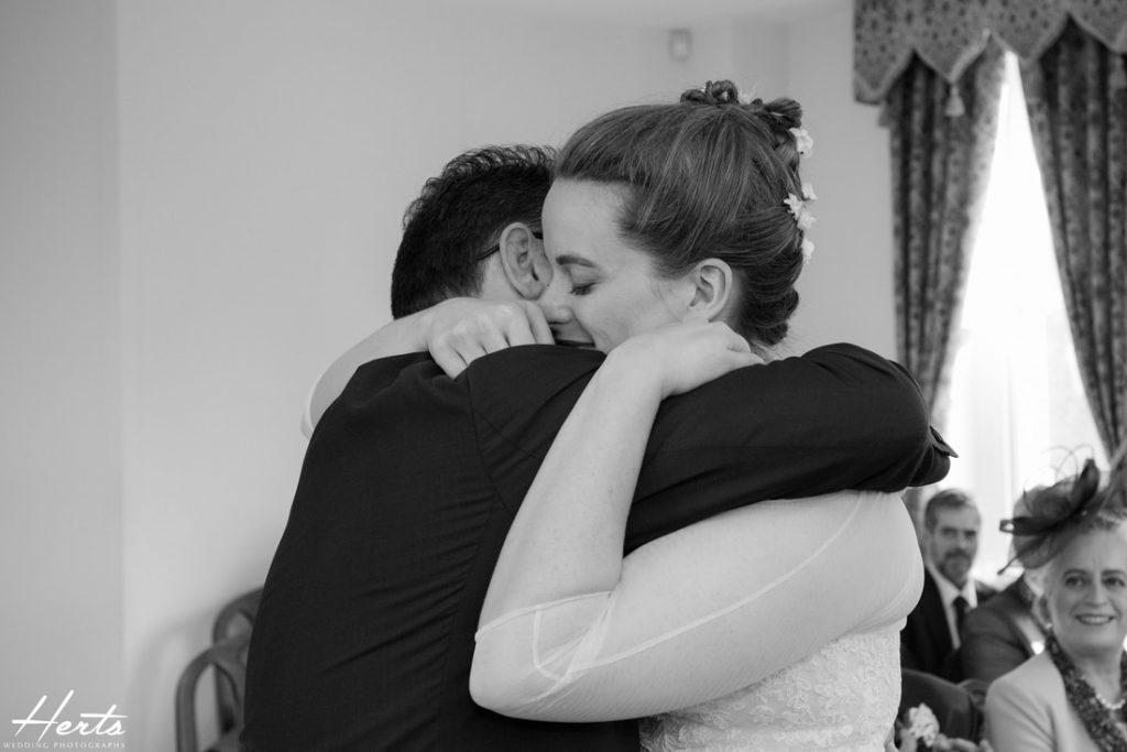 The couple share a hug together