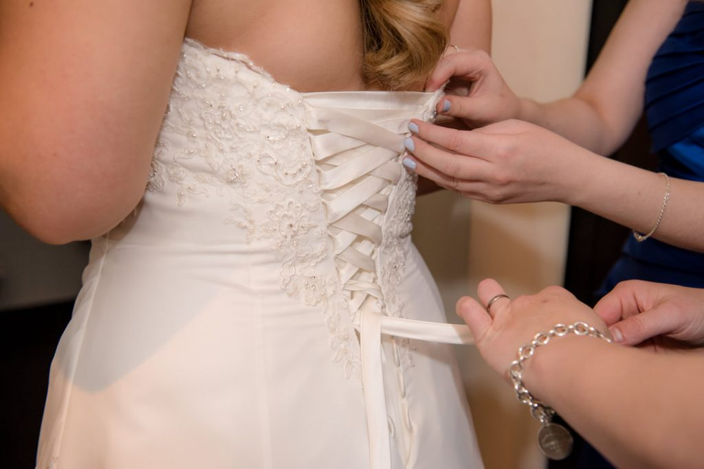 The back of the wedding dress is laced up