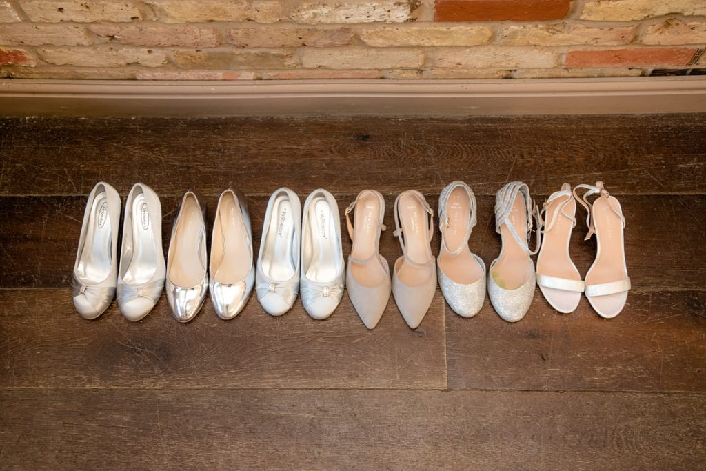A collection of bridesmaid shoes