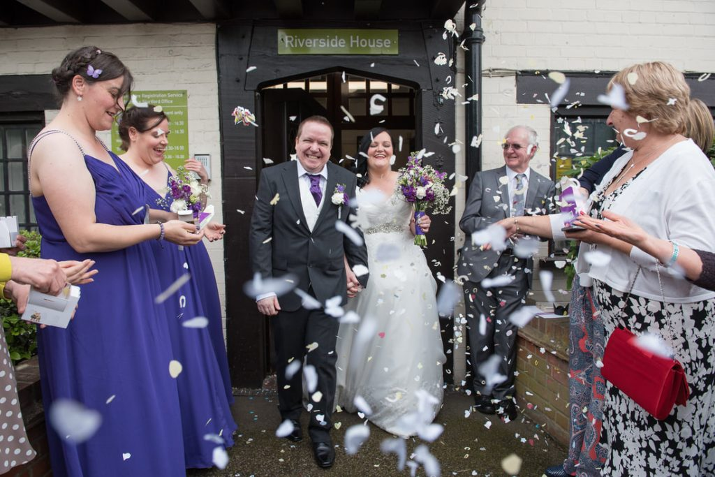 The confetti shot outside of the registry office