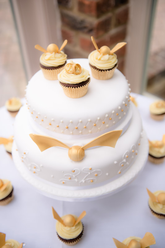A Quidditch Themed Wedding Cake and Cupcakes