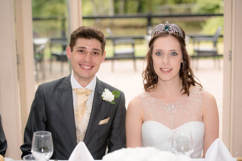 The bride and groom at the top table