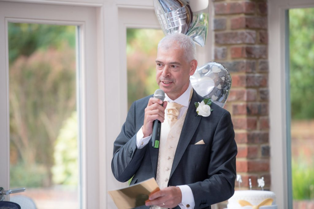 The father of the bride delivers his speech