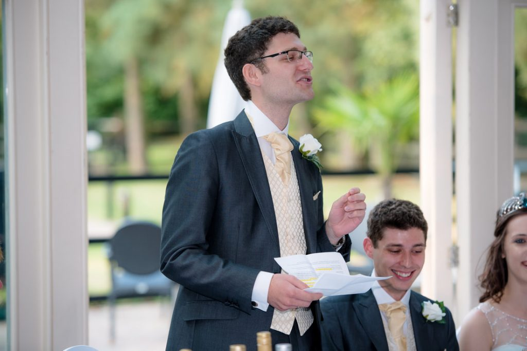 The best man delivers his wedding speech