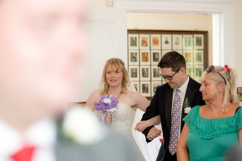 The bride entering the registry office