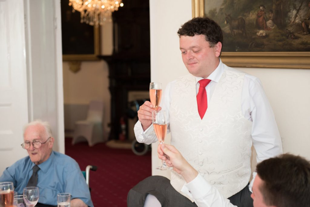 Best man toasts the newly married couple