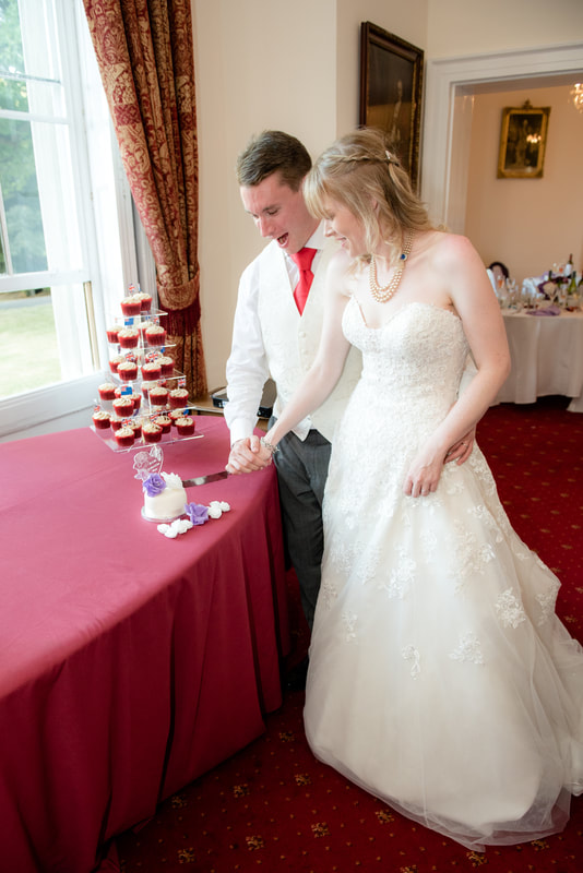 The wedding cake has been cut