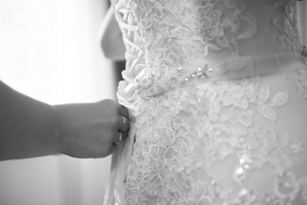 The lacing of the dress