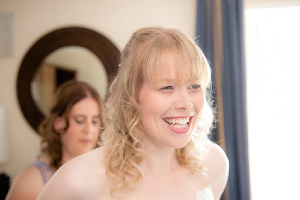 The bride has a beautiful smile