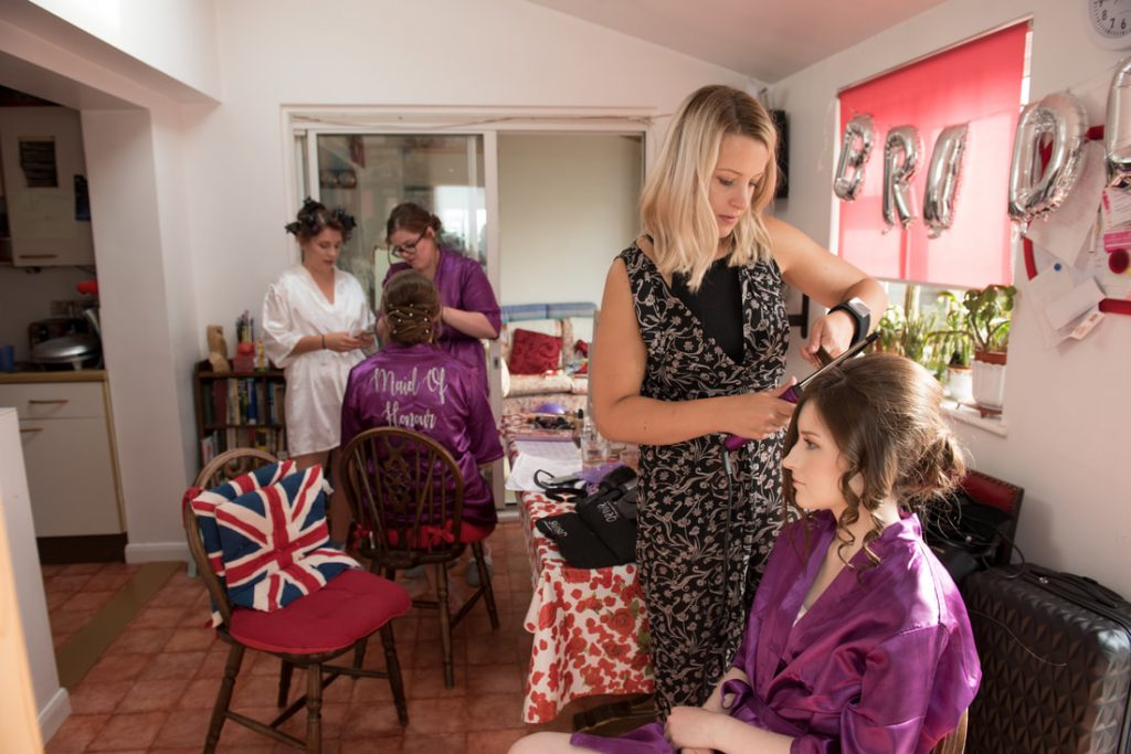 The bridal preparations taking place at home