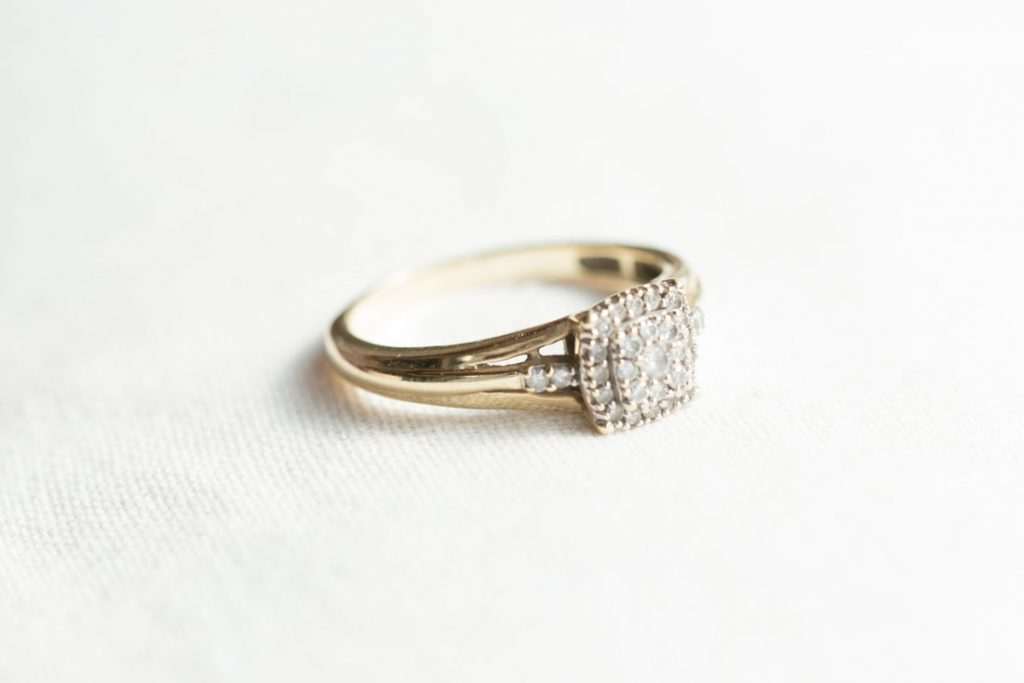 A detailed shot of the engagement ring