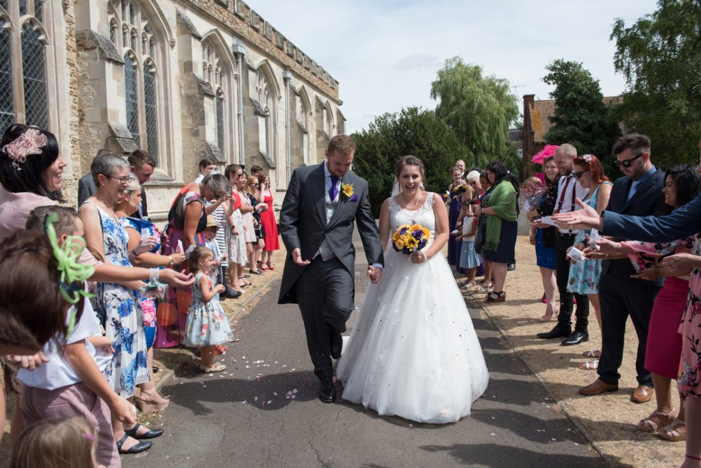 The confetti shot outside the church in hitchin