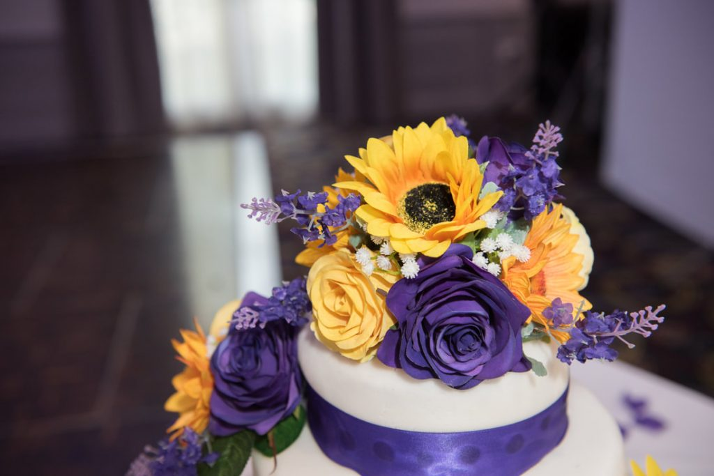 A detailed shot of wedding flower topper