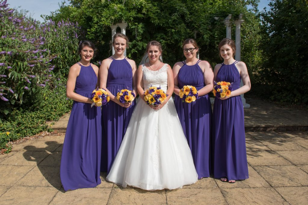 The bride and her crew at Letchworth Hall