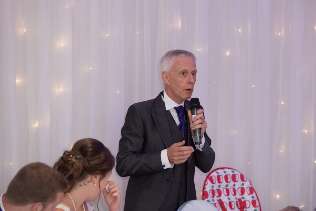 The father of the bride delivering his speech