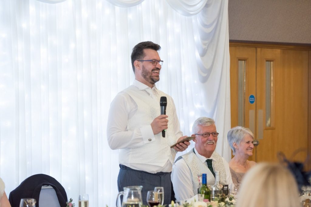 The groom giving his speech