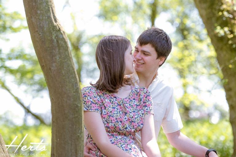 Andrew and Rachel sitting in Blunt Wood