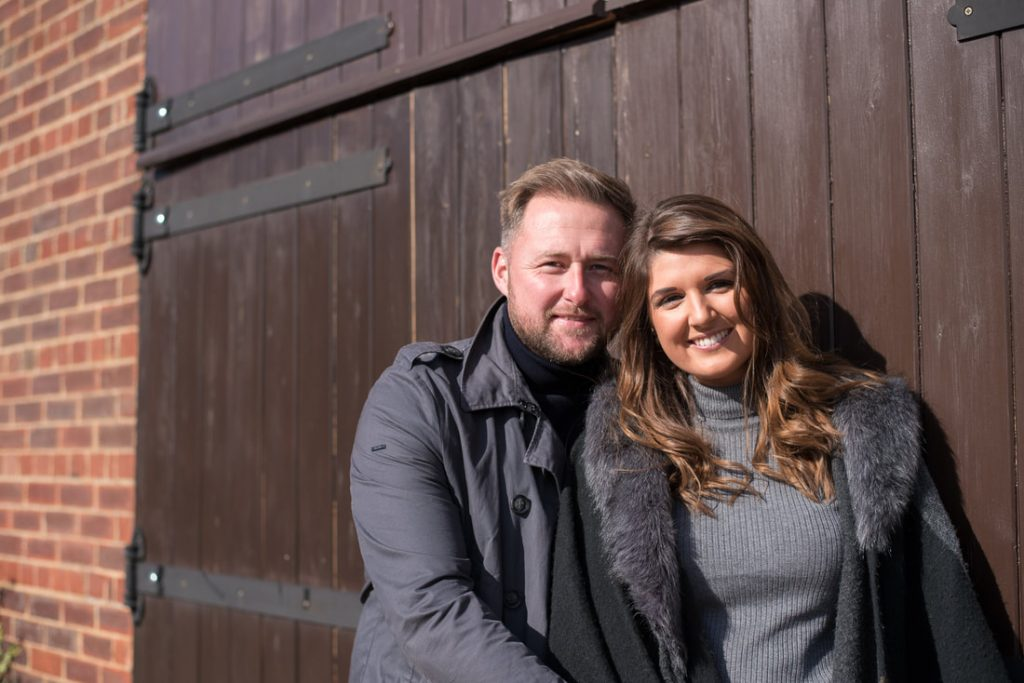 Engaged couple at milling barn