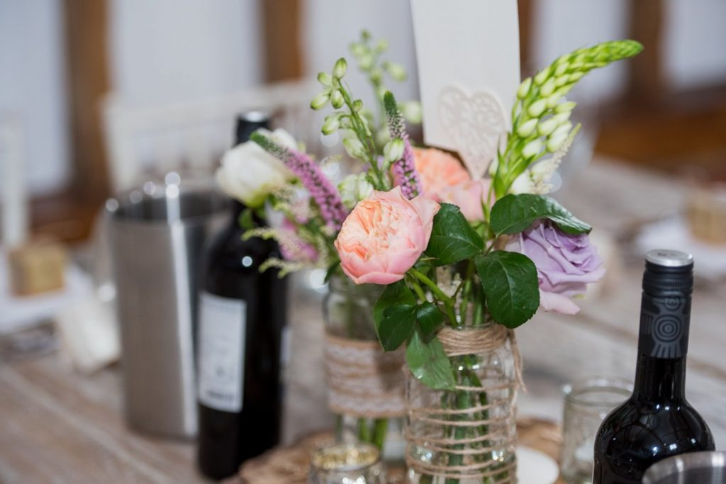 Flower Table Decorations at milling barn