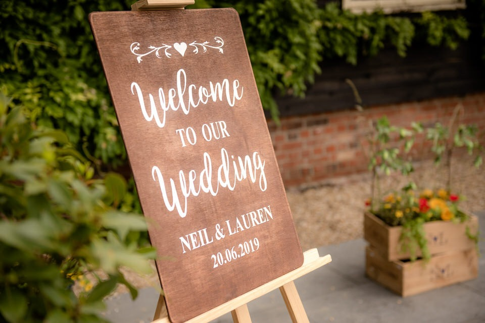 Wedding Board outside the venue