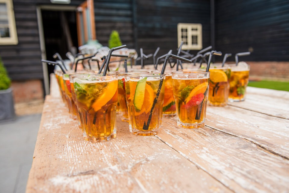 Pimms for the drinks reception at milling barn