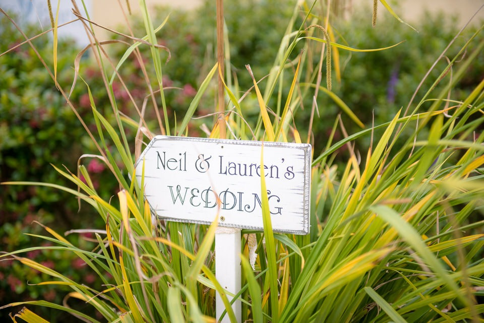 Signpost directing guests to Neil and Lauren