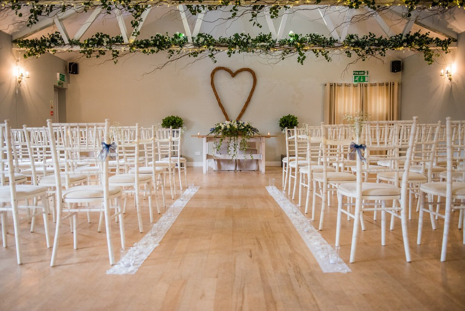 The ceremony room at milling barn