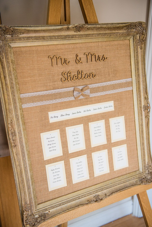 A framed table seating plan
