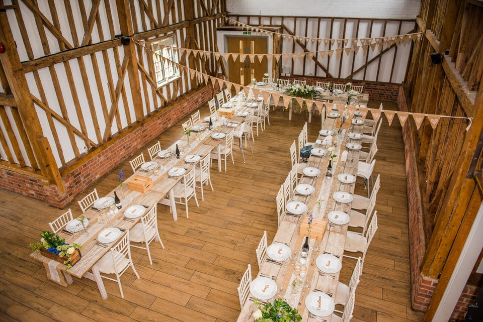 Inside the barns which are setup for the wedding breakfast
