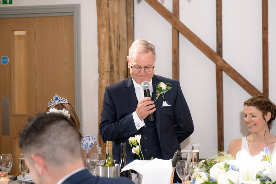 Father of the bride delivering his speech