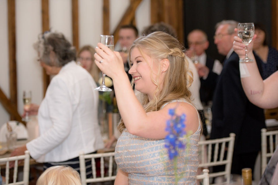 Guests raising their glasses to toast the bride and groom