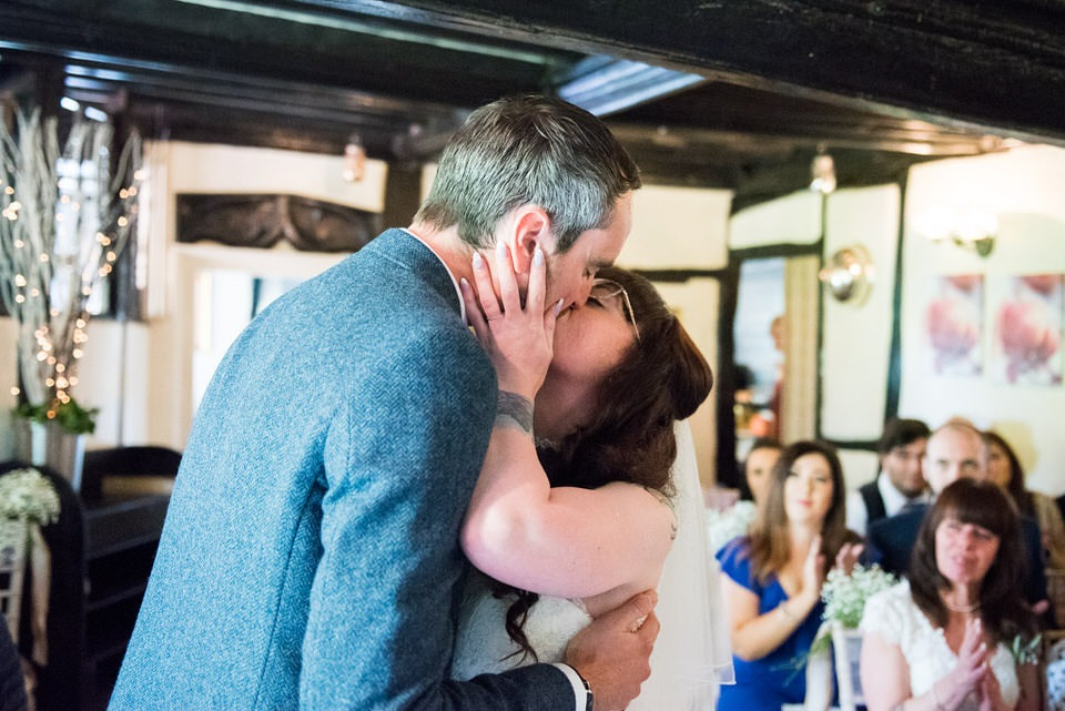 The couple's first kiss as husband and wife
