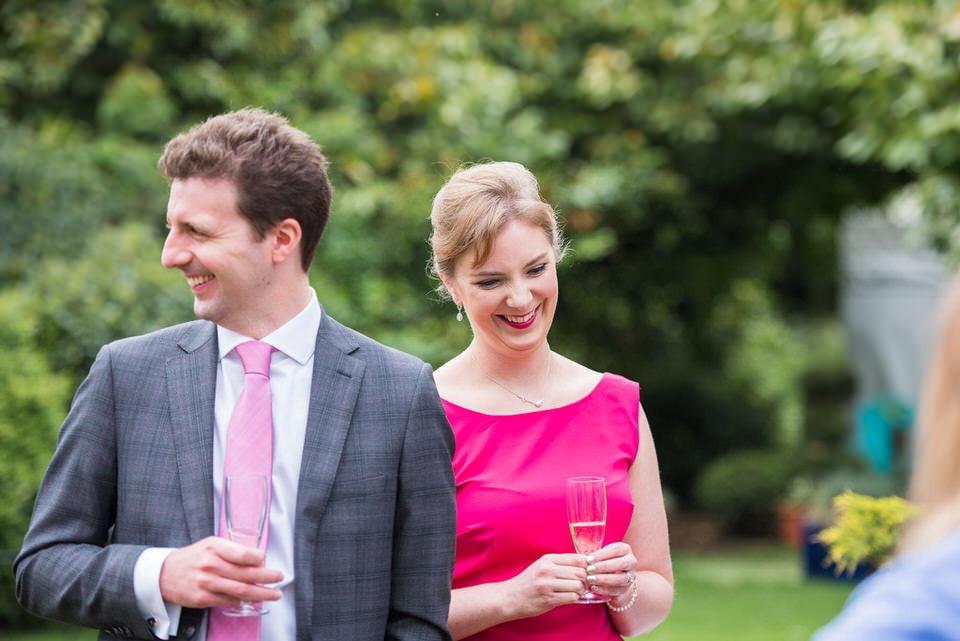 Wedding guests in the garden of Moreteyne Manor