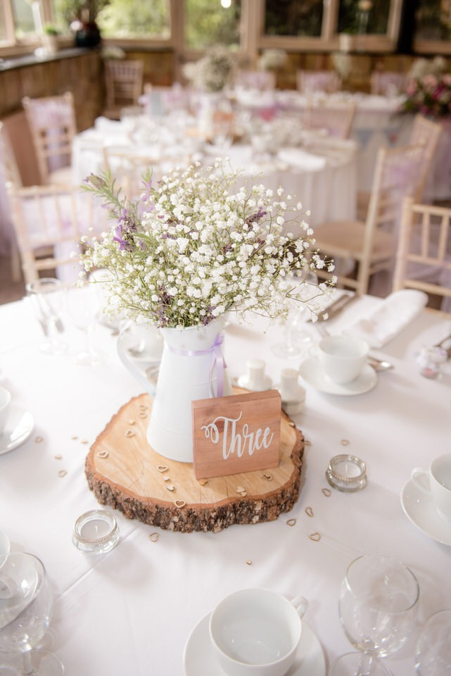 The table numbers on wooden logs