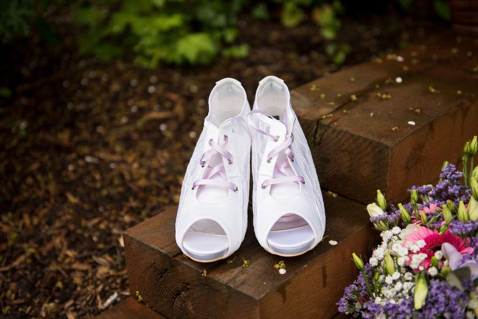 The brides comfortable wedding shoes