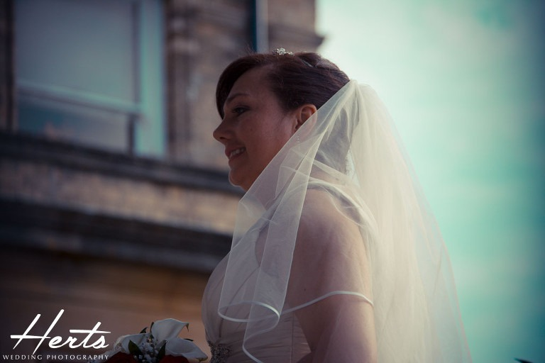 A shot of the bride against a light blue sky