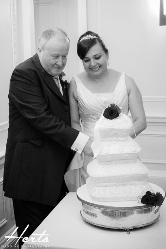 The couple cutting the wedding cake
