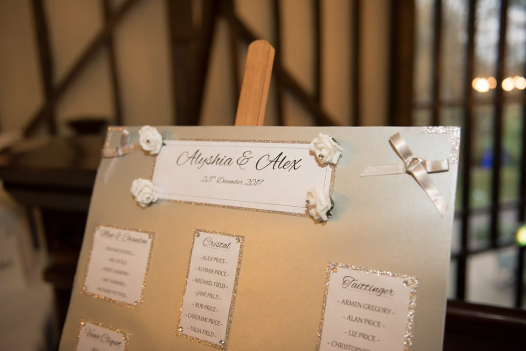 The Seating plan for the couple