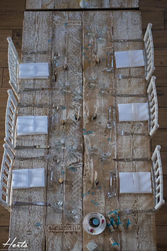 A downwards shot looking at the wedding table