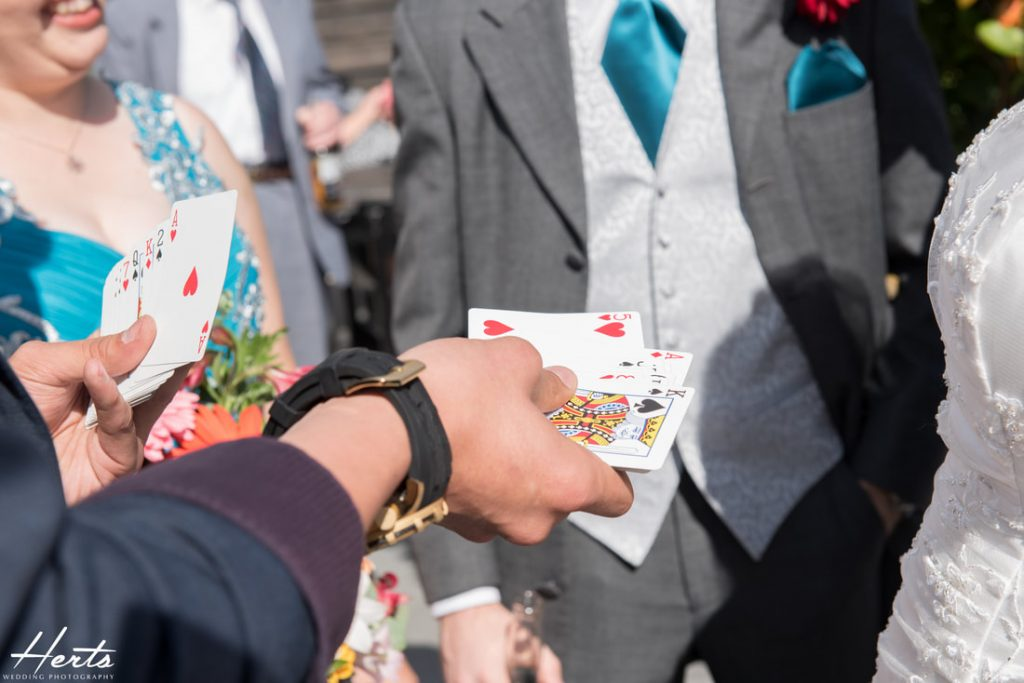 A magician keeps guests entertained