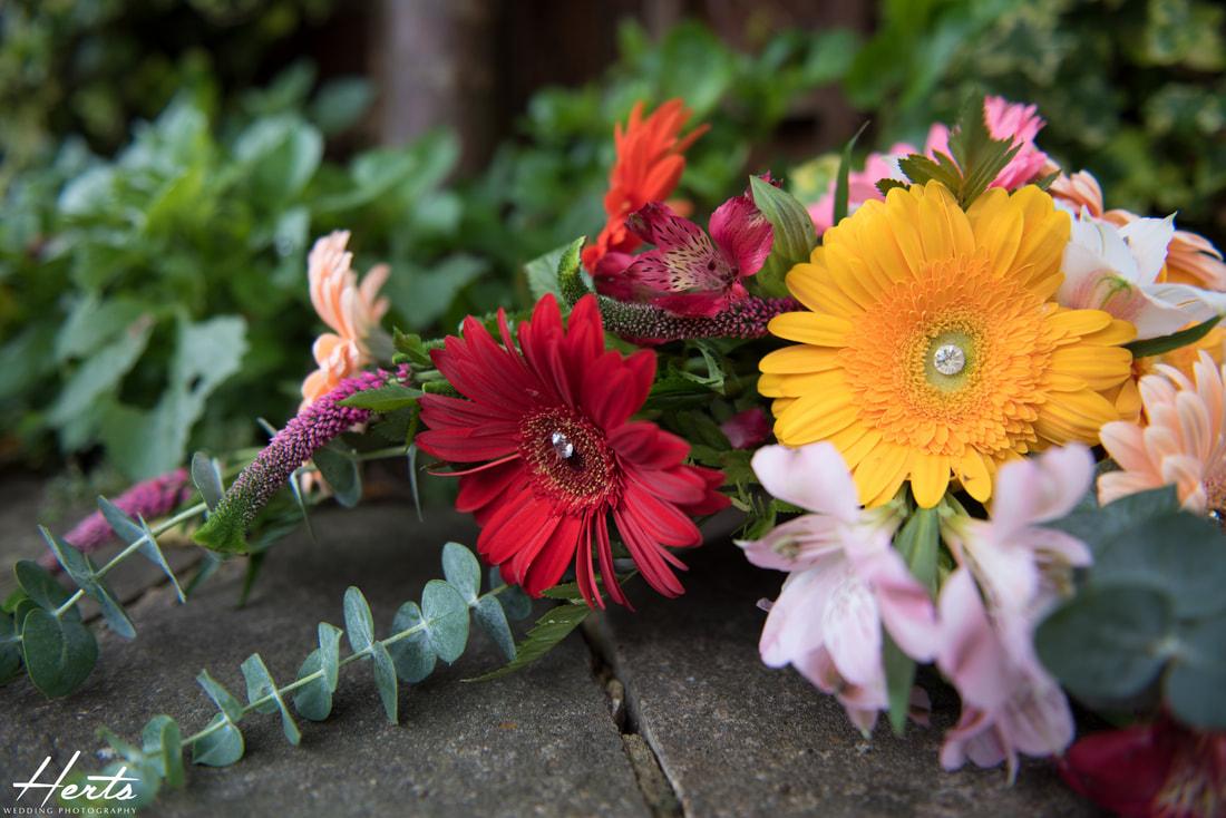 A close up shot of the wedding bouquet