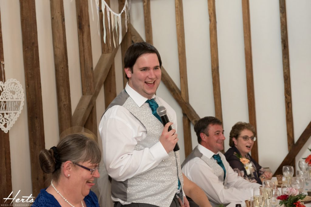 The groom delivers a funny wedding speech