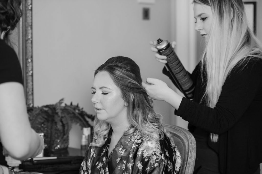 Bridesmaid Hair Styling before the wedding